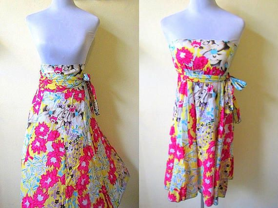 Floral Midi Skirt Small Doubles As A Strapless Dress