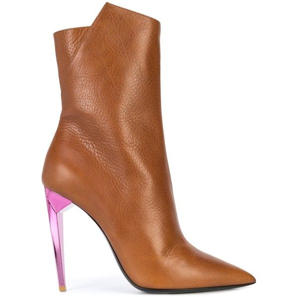 Saint Laurent Brown/Pink Ankle Boot Colored Heel (£625) ❤ liked on Polyvore featuring shoes, boots, ankle booties, ankle bootie boots, pink booties, brown boots, yves saint laurent and bootie boots