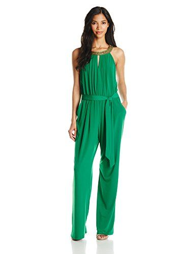 Vince Camuto Women's Keyhole Jumpsuit with Necklace, Green, Small Vince  Camuto http:/