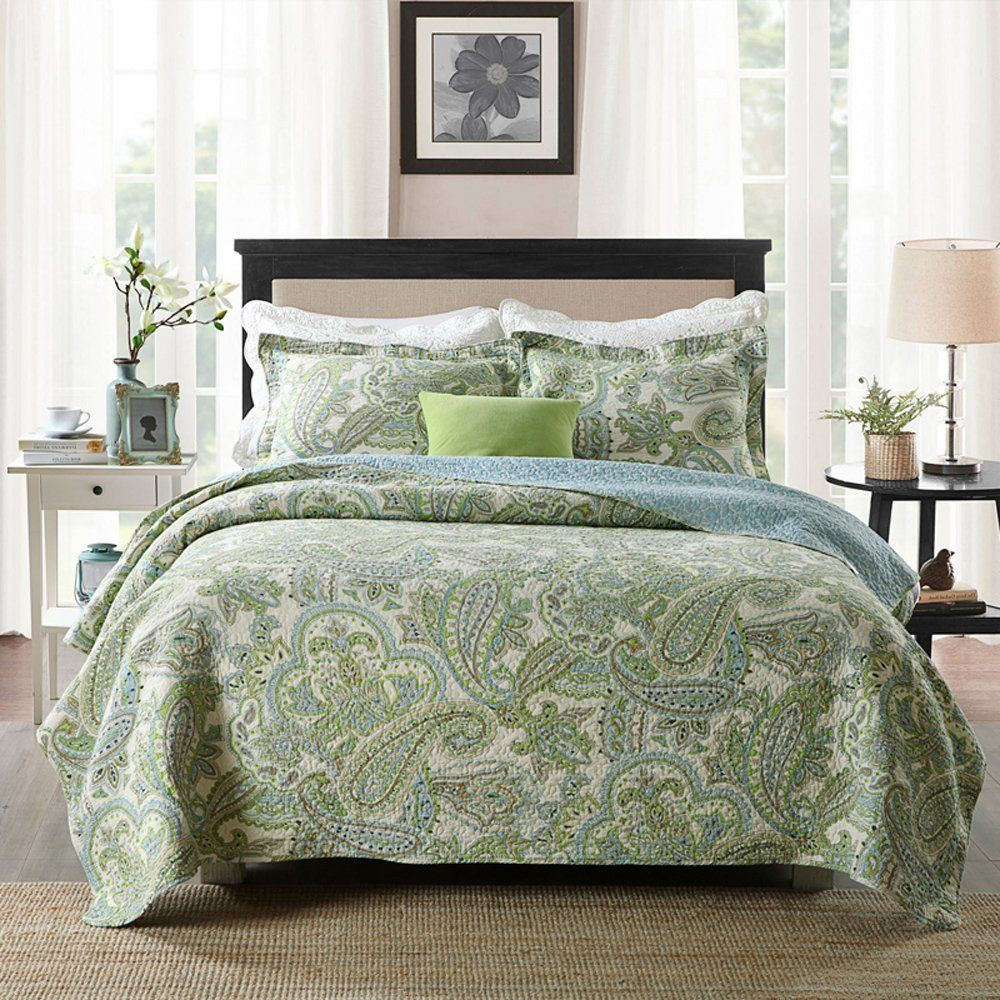 Brandream Green Paisley Printed Bedding Set Luxury Oversized Queen Quilt Set Soft Cotton Romantic Bedspre Bed Spreads Queen Size Comforter Sets Paisley Bedding