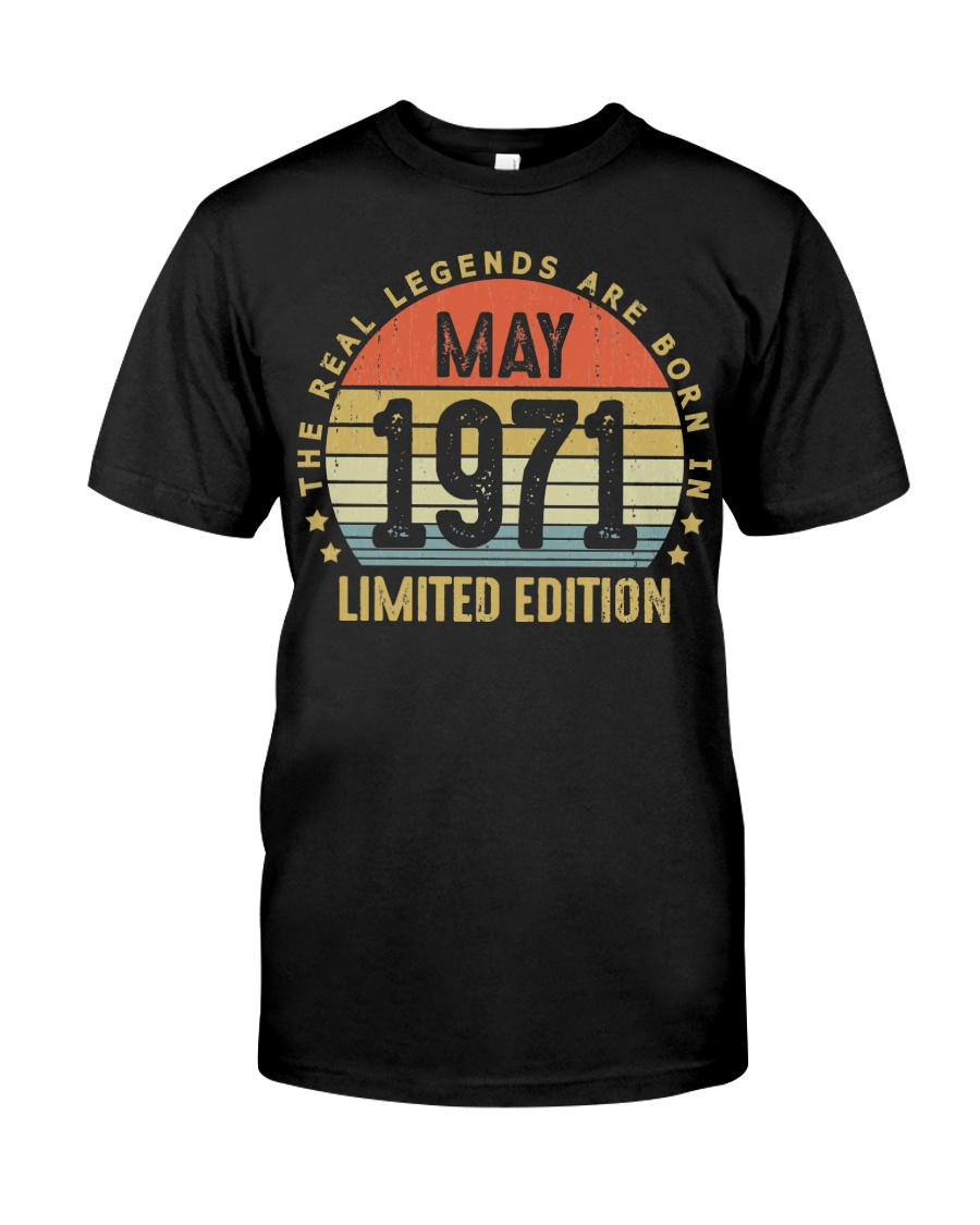 May 1971 Born In May 49Th Birthday 49 Years Old shirts, apparel, posters are available at TeeChip.