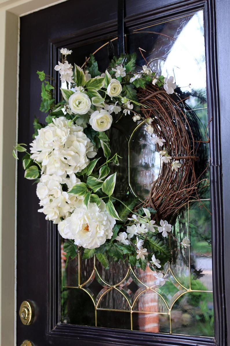 Spring Wreath for Front Door, Ivory Hydrangea wreath, Bridal Shower Decor, Hydrangea Double Door Decor, Year Round Cottage Style decor #doubledoorwreaths