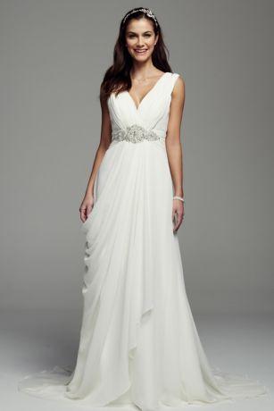 Tank Crinkle Chiffon Sheath Gown Davids Bridal