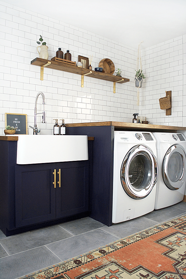 Modern Farmhouse Laundry Room Design Ideas Subway Tile Butcher