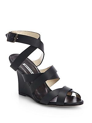 2b2645c7c871 Manolo Blahnik Avola Strappy Leather Wedge Sandals