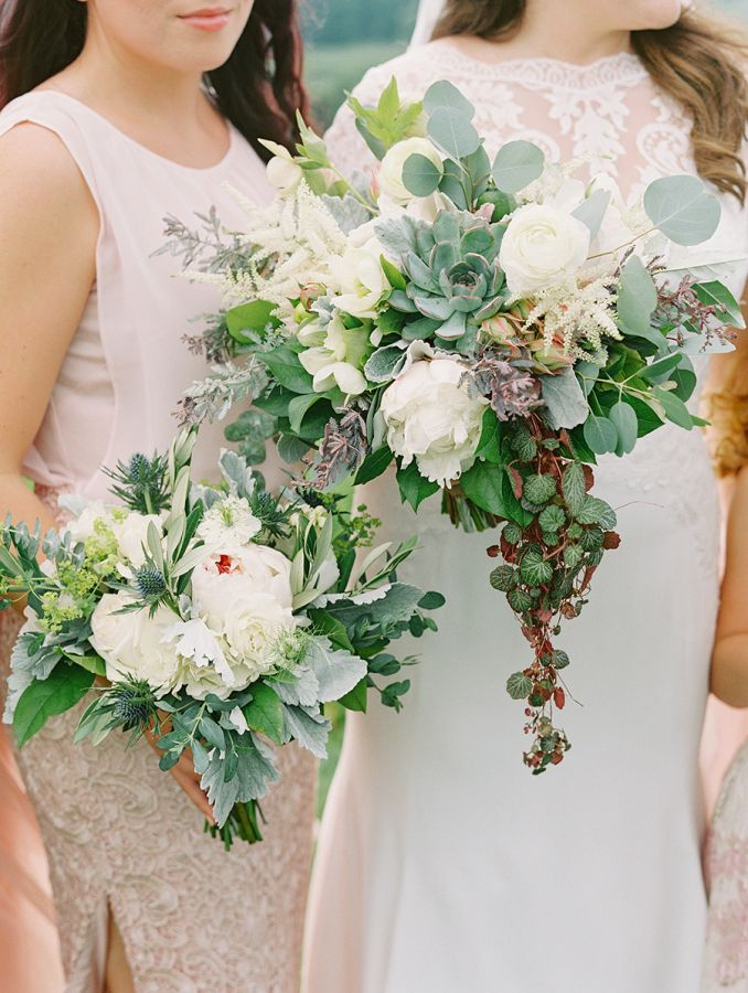 Rustic thistle, eucalyptus and succulent wedding bouquets: http://www.stylemepretty.com/2017/02/07/pippin-hill-summer-wedding/ Photography: Katie Stoops - http://www.katiestoops.com/