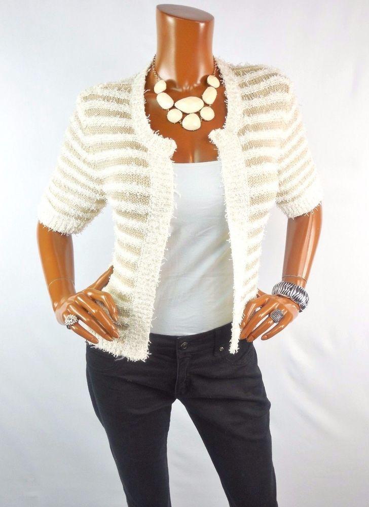 SPENSE Womens Top M NEW Spring Knit Cardigan Shirt Ivory Tan Short ...