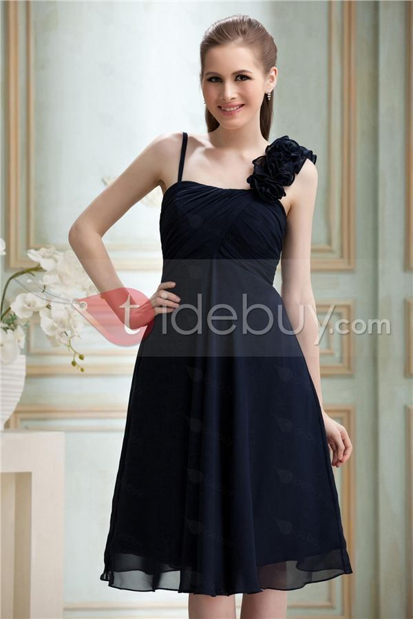 Gorgeous Flowers Ruched A-Line Straps Knee-length Nadya's Bridesmaid Dress
