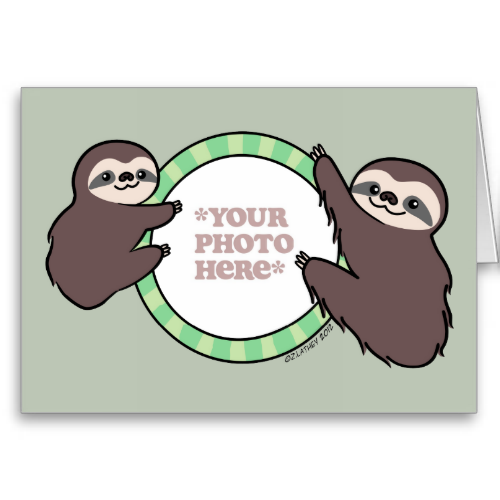Here are two cute sloths clinging on to a frame for you to customize with your own photo. #animals #sloth #three #toed #furry #jungle #cartoon #vector #personalize #customize #photo #frame #zozocards #zozo #cards #zoel #illustration #drawing #mom #mother #father #parent #child #baby