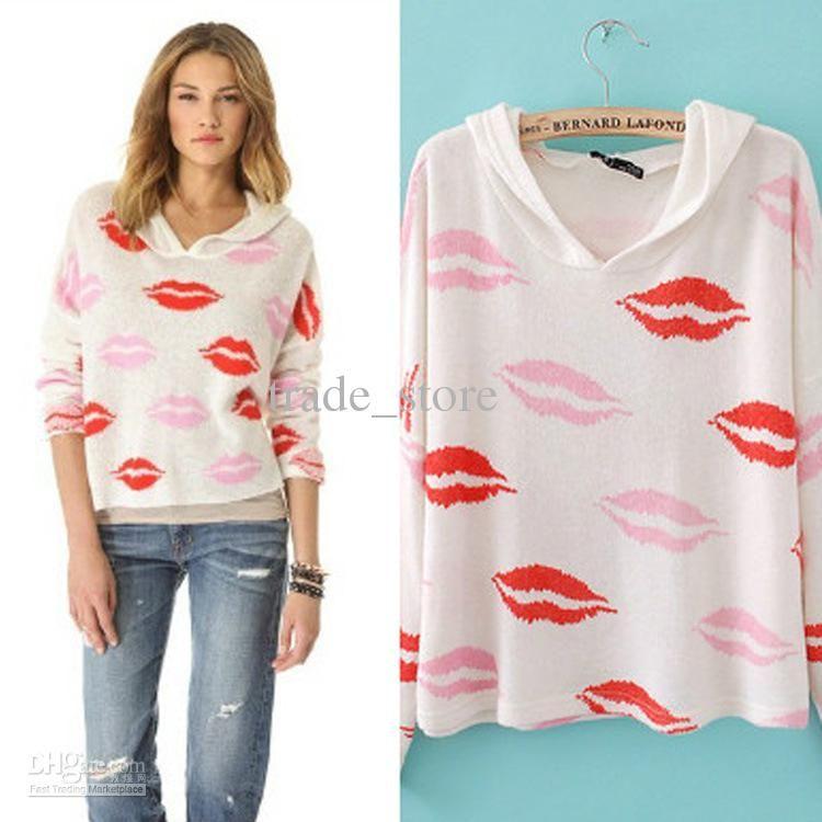 Fashion Sweatshirts Women Pullover Hoodies And Tops Lips Printed ...