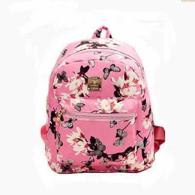 28221911bea 2017 Fashion Women Floral Printing Leather Backpack School Bags for Teenage  Girls Lady Travel Small Backpacks Mochila Feminina