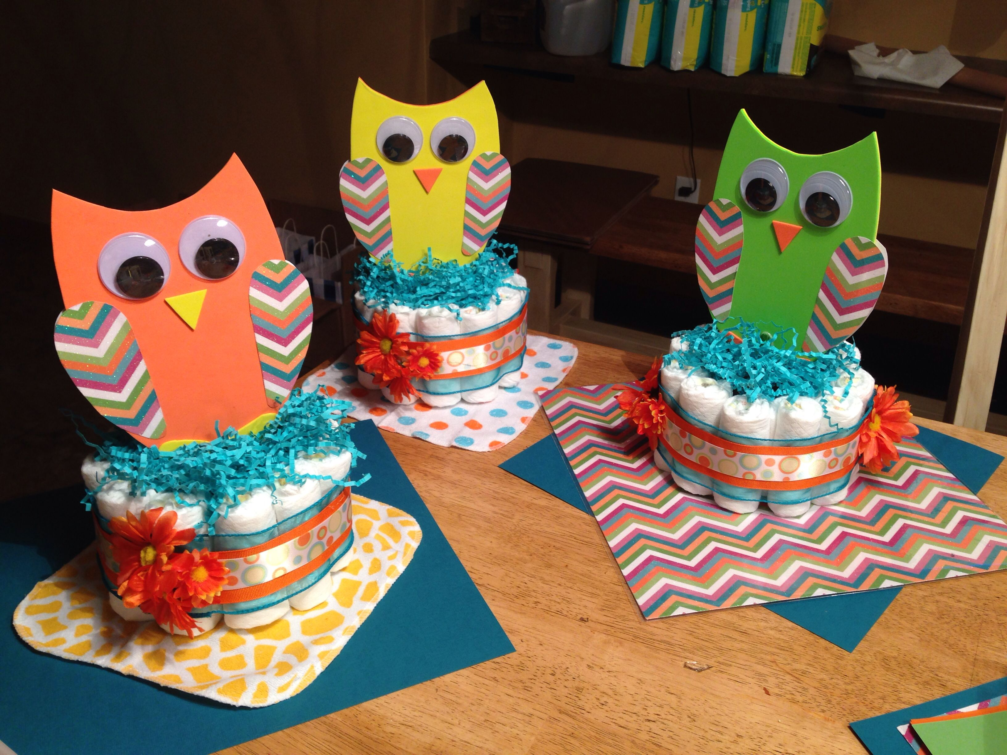 Foam board craft ideas - Diaper Cakes Centerpieces For Owl Theme Baby Shower Owls Made From Foam Board With Scrapbooking