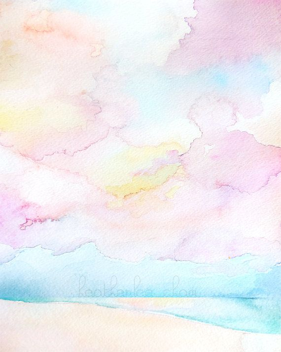 Beach Sunset Watercolor -  Abstract Landscape Painting - Print 8x10 | by Heatherlee Chan | Lady Poppins