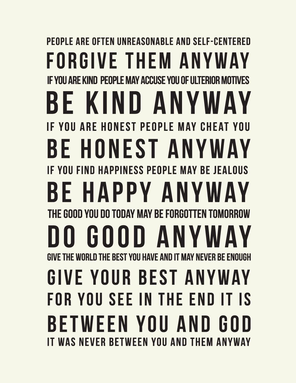 ... Been Thinking About Making A Canvas Or Something For My Office So I Can  See It Every Day, | Inspirational Mother Teresa Quote : Do It Anyway.