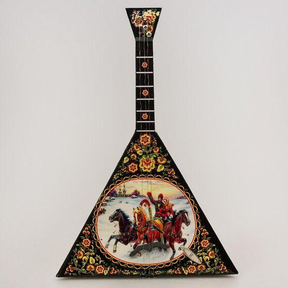 Balalaika Music Box Winter Troika, Hand Carved in Russia 9.8''