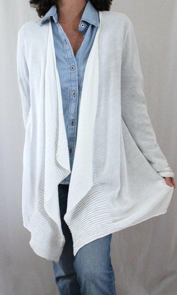 J. Jill Cotton Blend L Sleeve Cascading Open High Low A-line Cardigan White Sz M #JJill #Cardigan