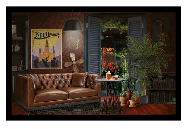"""""""Travel Poster Decor - New Orleans"""" by desider ❤ liked on Polyvore featuring interior, interiors, interior design, home, home decor, interior decorating, Maxwell Dickson, Hooker Furniture, Mouillé and Ampersand"""