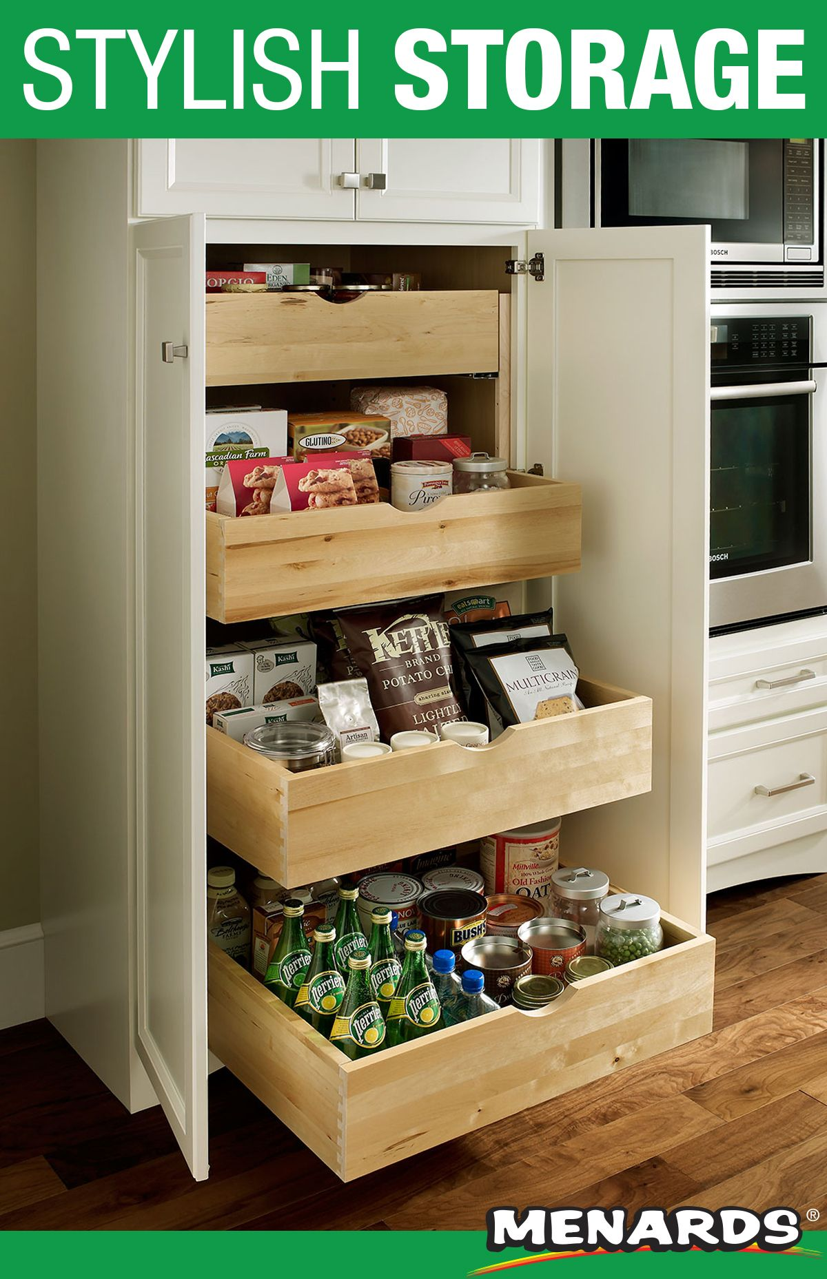 Maximize Your Pantry Storage With Medallion Cabinetry These Deep Roll Out Trays Pull Out Effortle Menards Kitchen Menards Kitchen Cabinets Medallion Cabinets