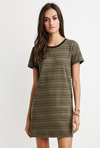 Cutout Back Striped T Shirt Dress Forever 21 2000141036 Things