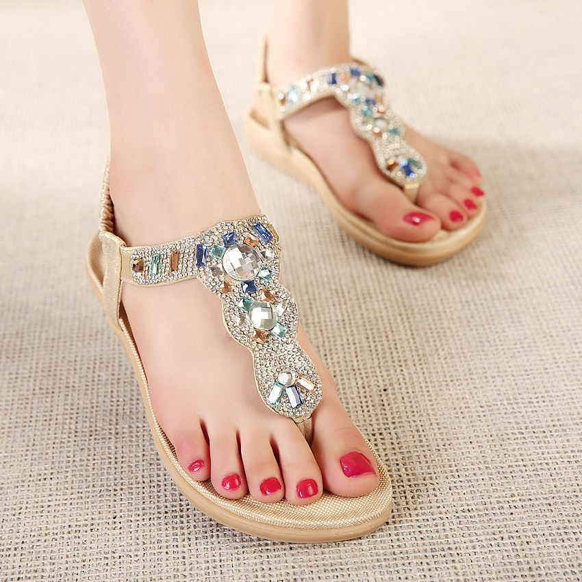 New Arrived Fashion Summer Women Rome Style Casual Ankle Flat Sandals Bohemia Slippers