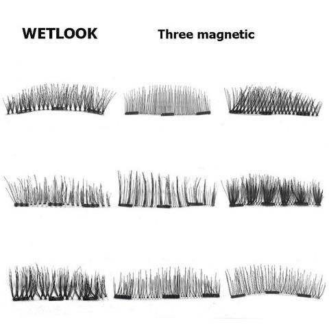 785e33a4d9a 3D Three Magnetic False fake Eyelashes on magnets reusable Fashion magnet lashes  eye lashes Ultra-Thinner Extension Tools C189