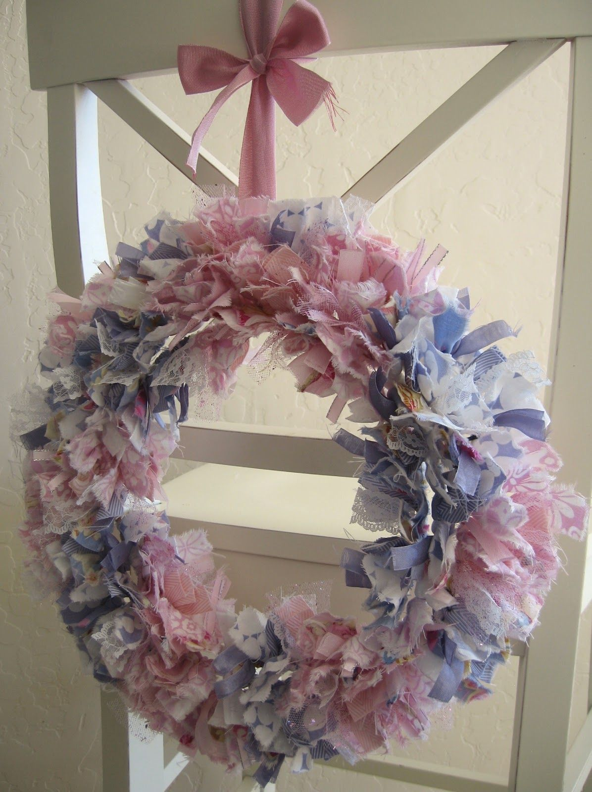 Designs by Sharon: Pretty Pink and Purple Fabric Strip 12-inch Wreath