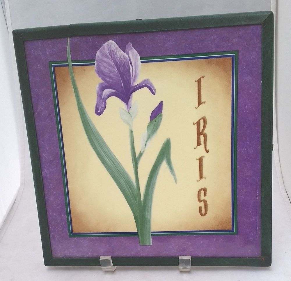 "Purple Iris wall decorative ceramic tile 10 3/8"" framed in green ..."