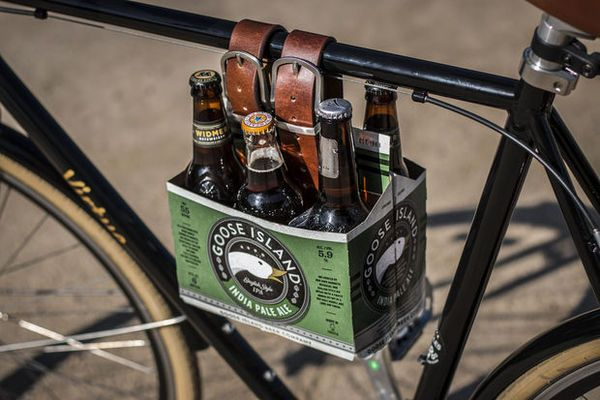 How To Make A Diy Leather Six Pack Carrier For Your Bike Diy Projects For Men Leather Diy Beer Holders