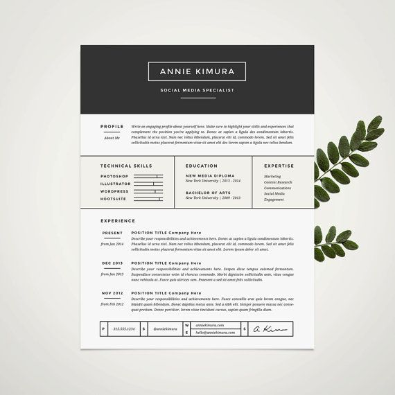 Minimalist Resume Template Modern Resume Template And Cover Letter Template For Word  Diy
