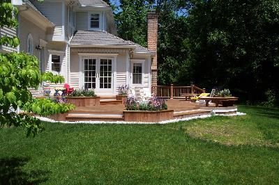 Multi Level Ipe Deck In Stamford Ct With Azek Trim Flows Beautifully To The Back Yard Nice Design Deck