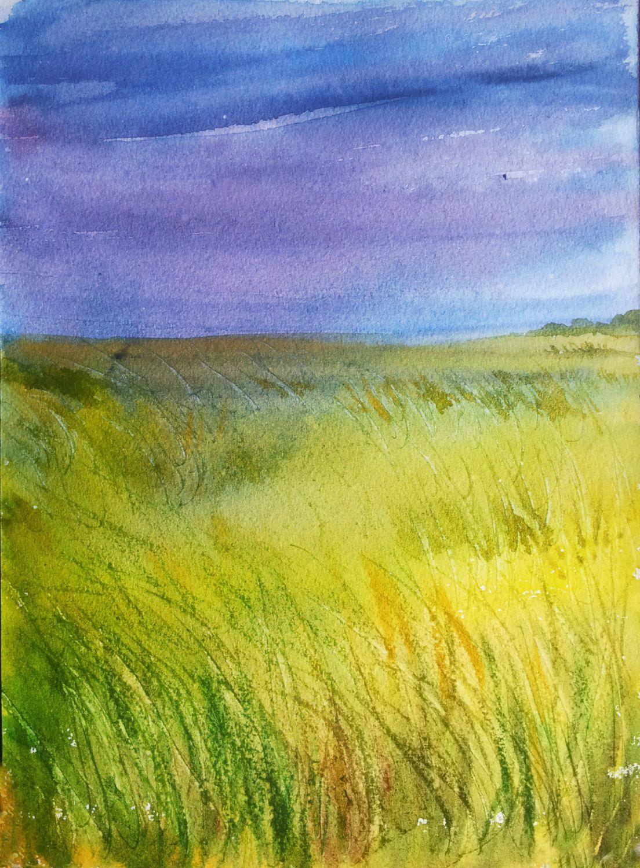 Original Handmade Painting Green Grassland affordable Watercolor ...