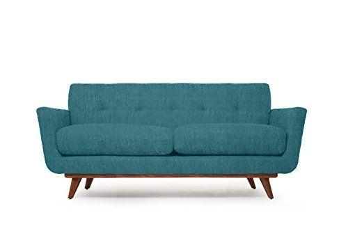 Modern Mid Century Art Deco Retro Loveseat Sofa Turquoise Blue
