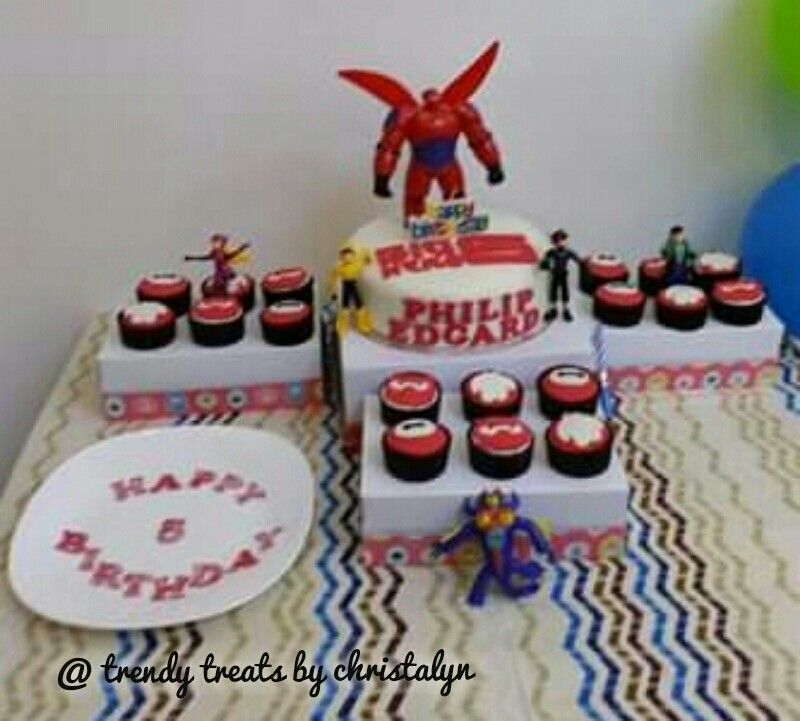 Big Hero 6 Cake and Cupcakes cake toppers provided by client