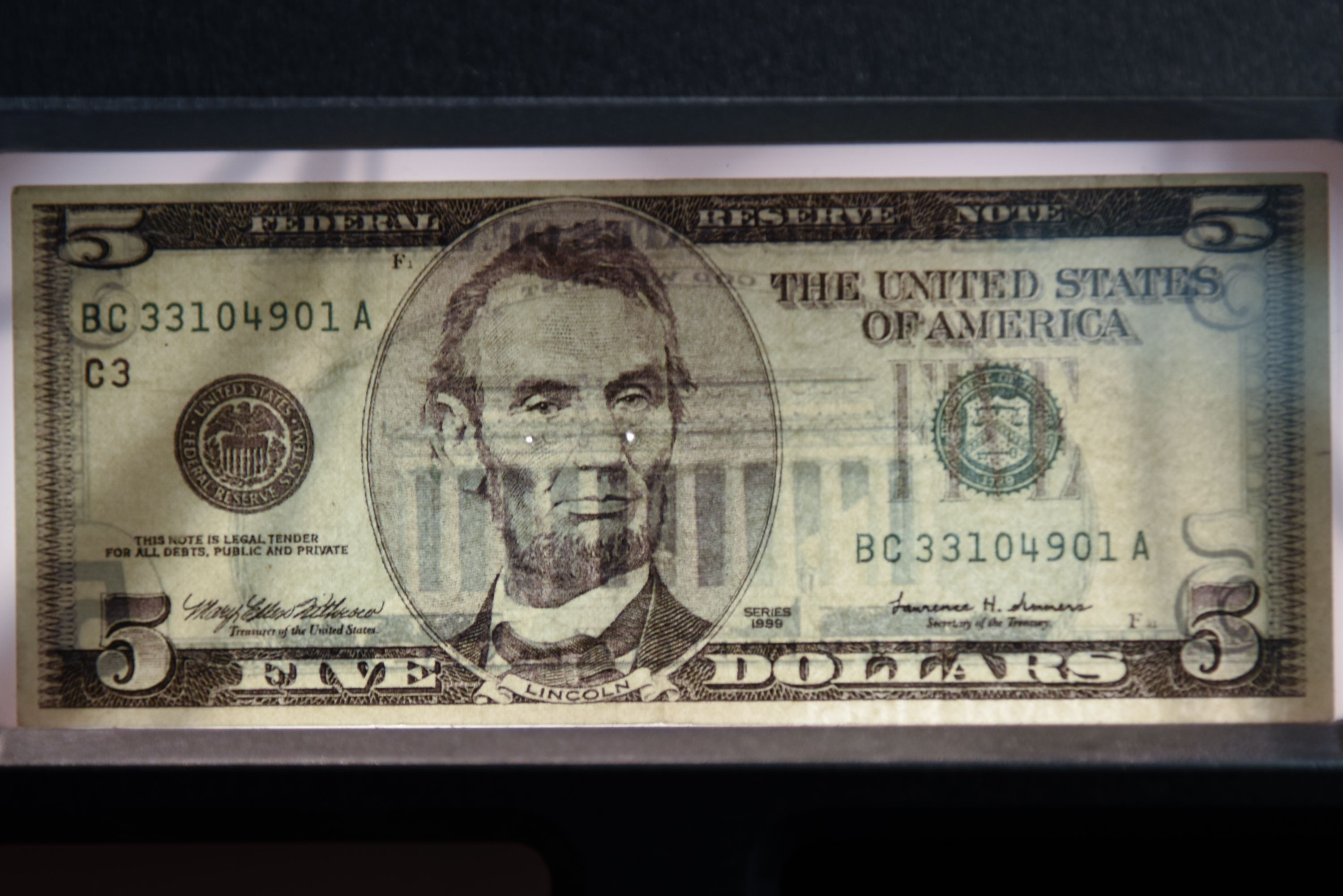 Counterfeit 5 Bill Like us to start each day with a