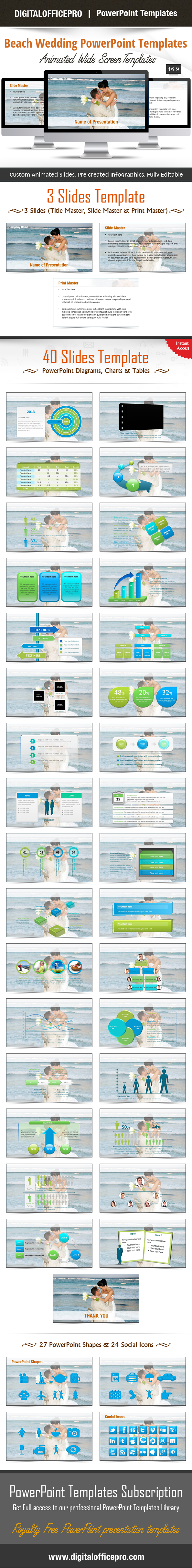 Beach Wedding Powerpoint Template Backgrounds