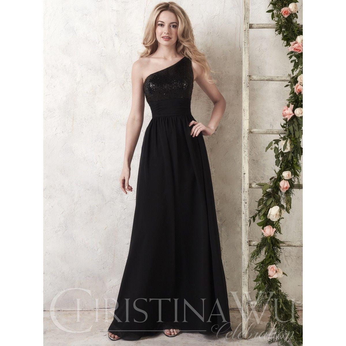 Christina wu style 22747 shown in bronze size 16 christina wu celebration 22747 is a one shoulder bridesmaid gown that has a fully sequined bodice with pleated middle and a long chiffon skirt ombrellifo Gallery