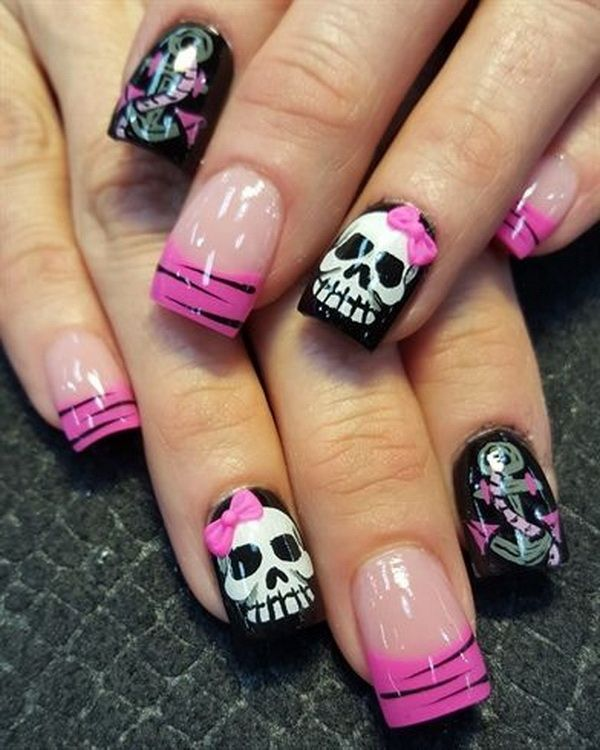 40+ Cute and Spooky Halloween Nail Art Designs | Skull ...