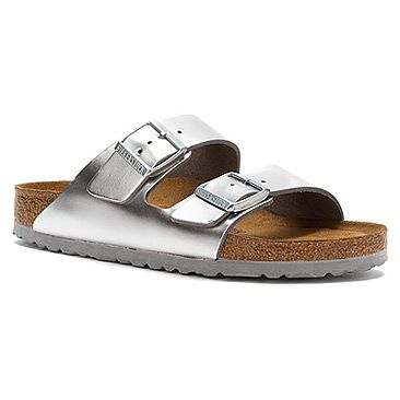 birkenstock arizona soft footbed silver metallic leather. Black Bedroom Furniture Sets. Home Design Ideas