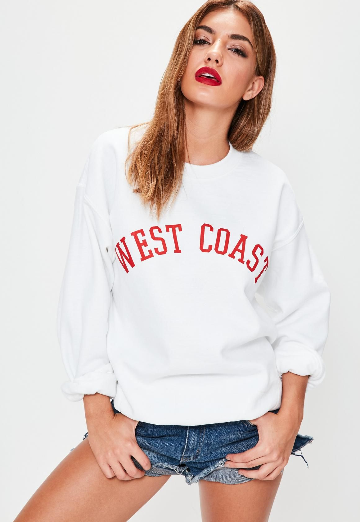 nice cheap unique design save up to 80% White West Coast Slogan Sweatshirt - Missguided