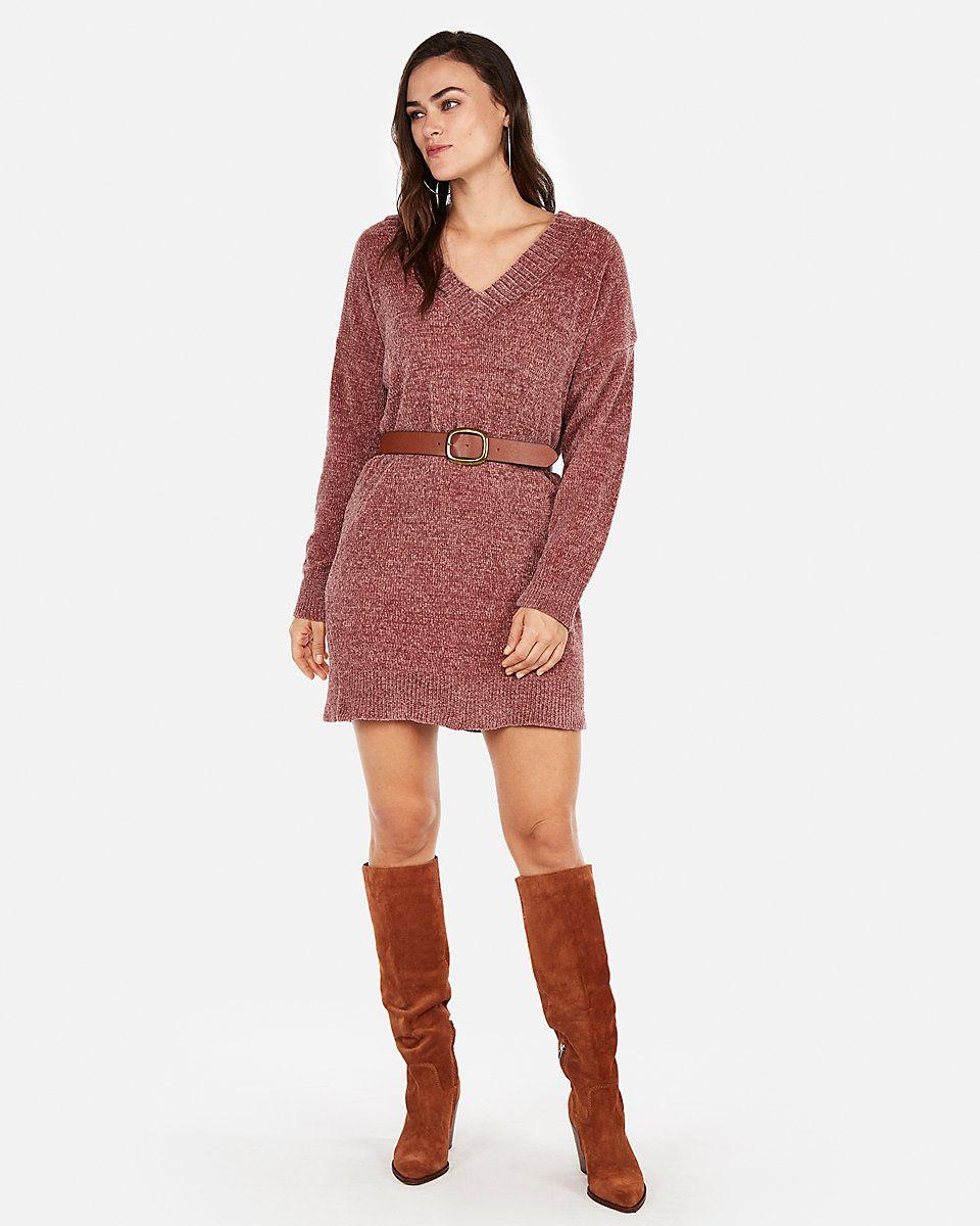 73273dd5f79 V-Neck Shift Sweater Dress Black Women s XS
