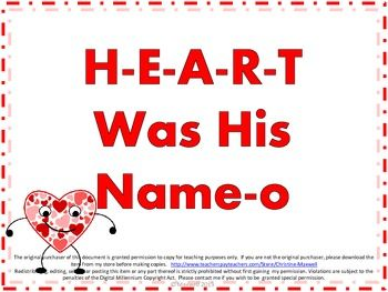 Valentines Day Song And Posters H-E-A-R-T Was His Name-O