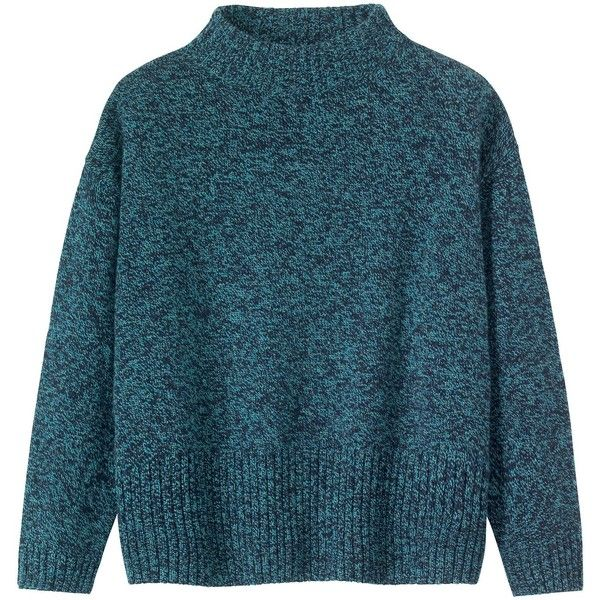 Toast Kaja Sweater (€78) ❤ liked on Polyvore featuring tops, sweaters, clothes - tops, dark teal melange, holiday tops, evening tops, evening sweaters, long sleeve tops and lambswool sweater