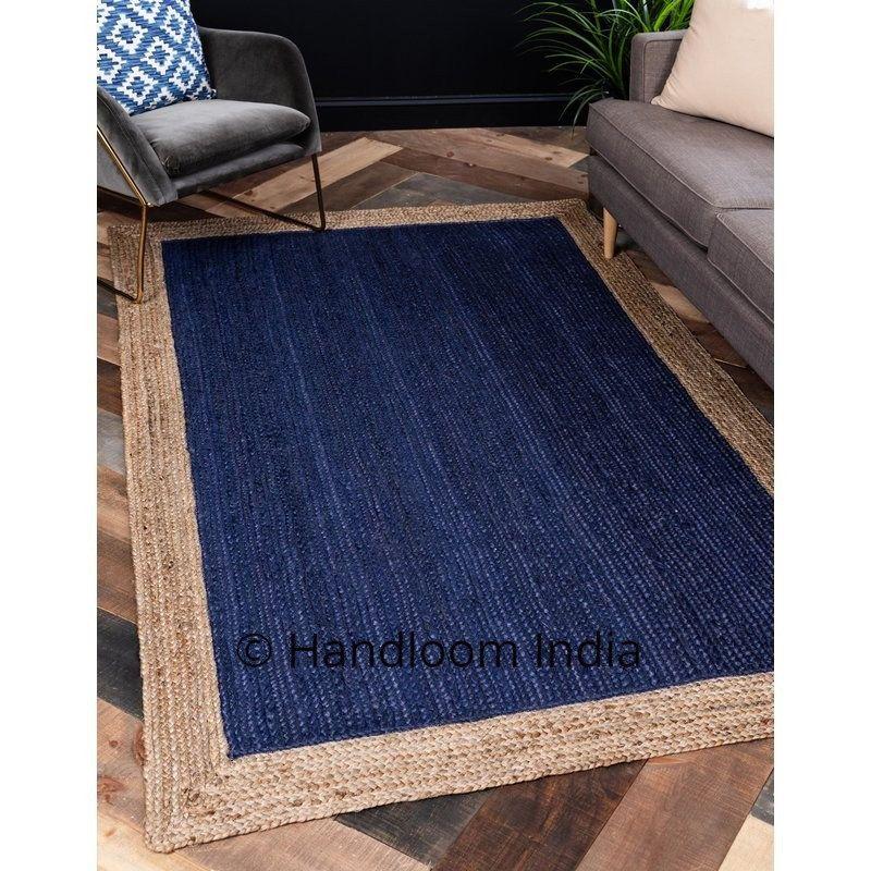 Navy Blue Braided Jute Solid Area Carpet For Office Living Room Rug Runner Bedroom Area Rug 3x4 Ft Area Rugs Navy Blue Area Rug Blue Area Rugs