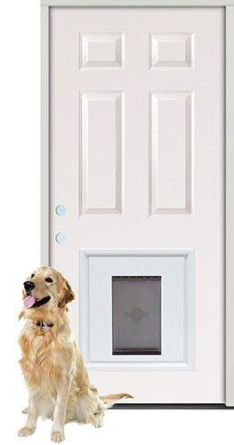 2\u00278\  6-Panel Steel Prehung Door Unit with Pet Door Insert  sc 1 st  Pinterest & 2\u00278\