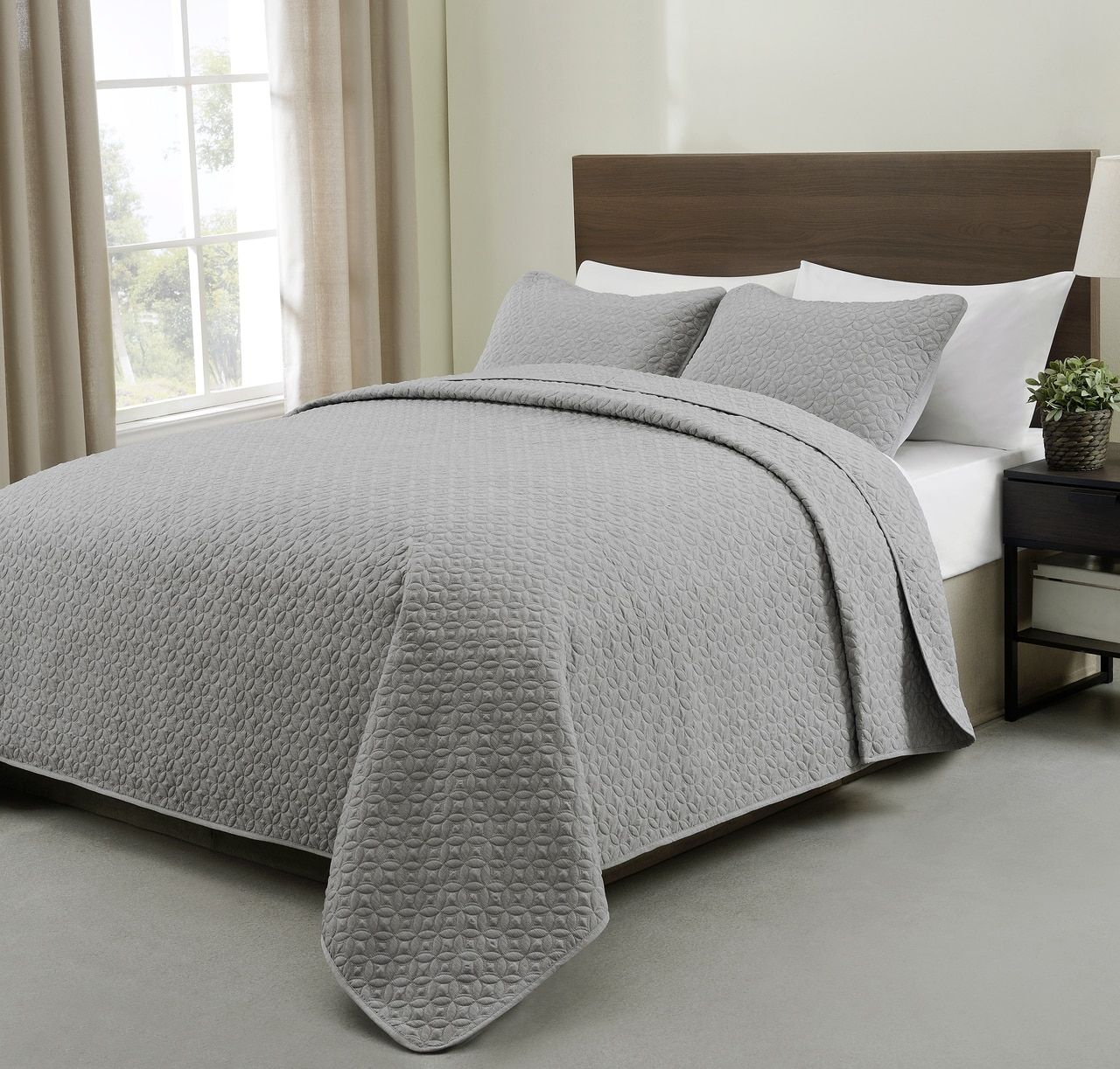 Allyson 3 Piece Quilted Coverlet/Bedspread Set Grey Color