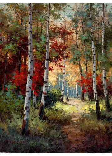 Forest Scene Painting Of Aspen Trees I Love The Red Accents Landscape Art Landscape Paintings Forest Painting