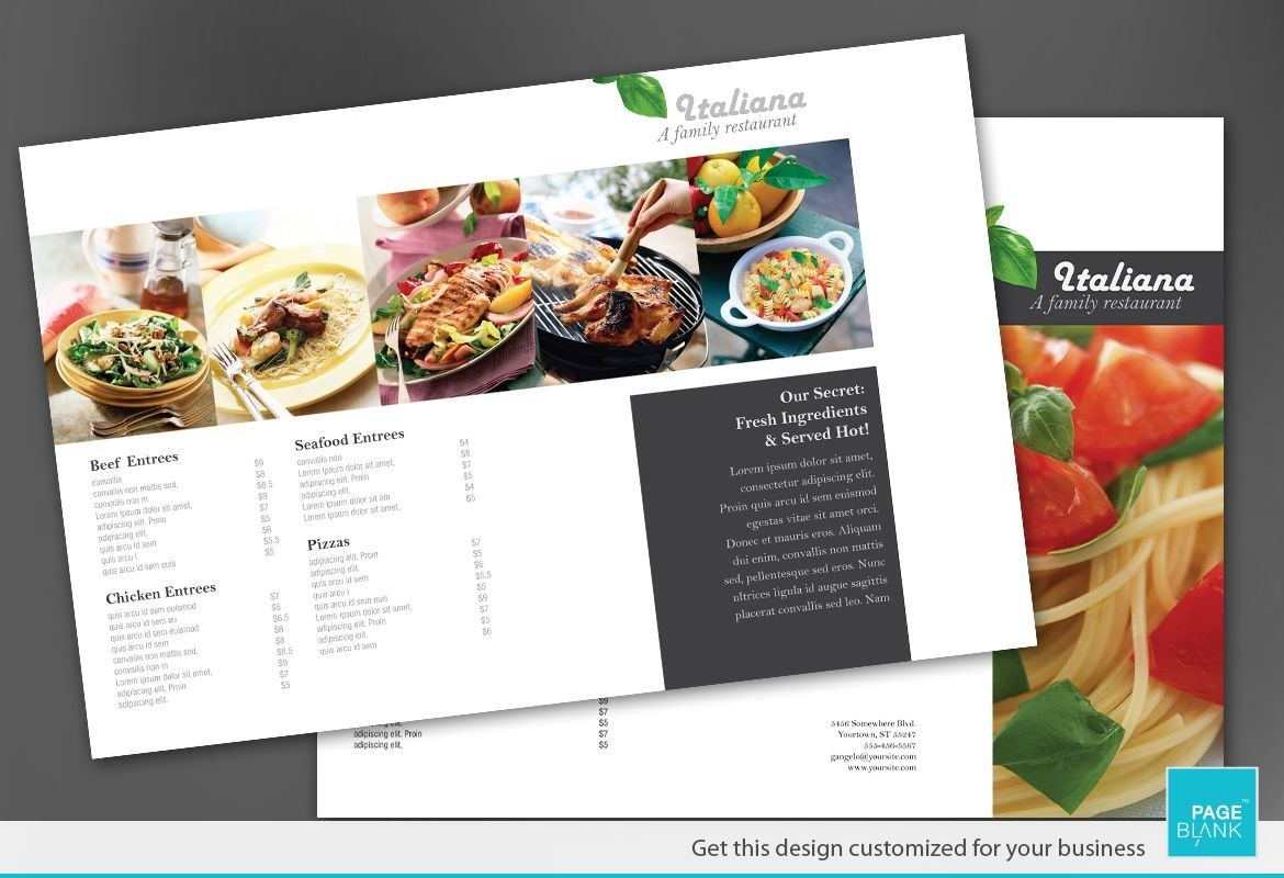 Tri Fold Brochure template for Italian restaurant. Order