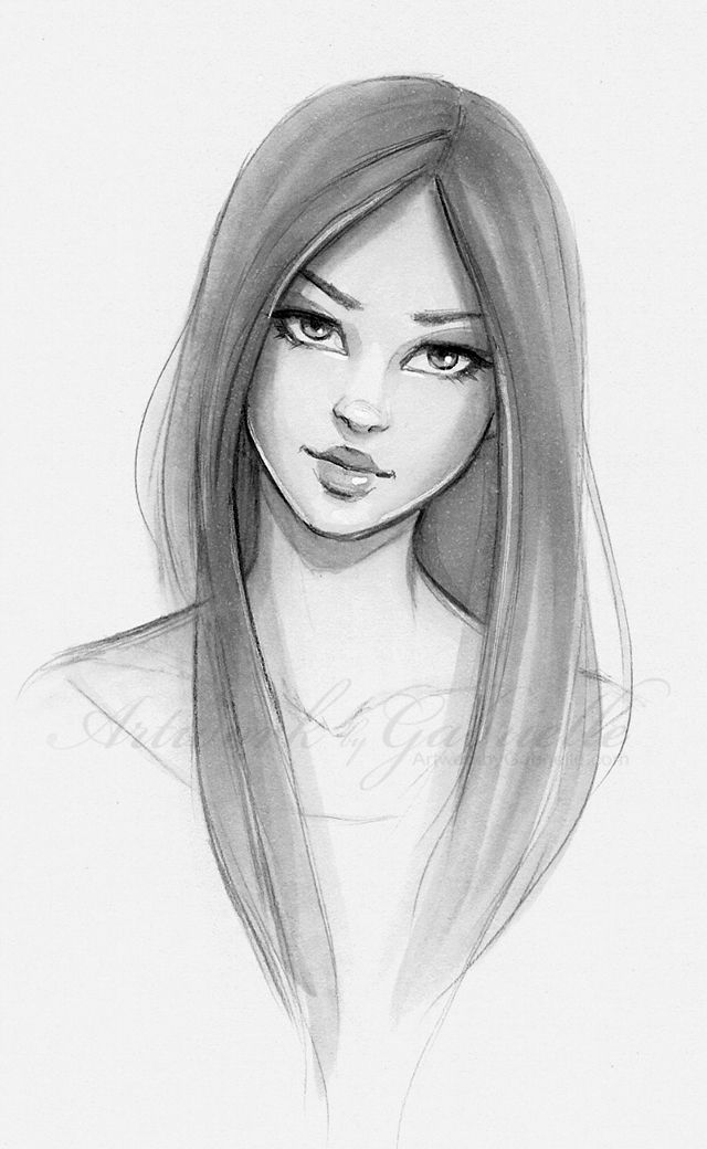 Long Hair Beautiful Girl Sketch Illustration Drawing Bella
