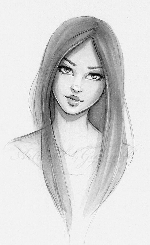 long hair beautiful girl sketch