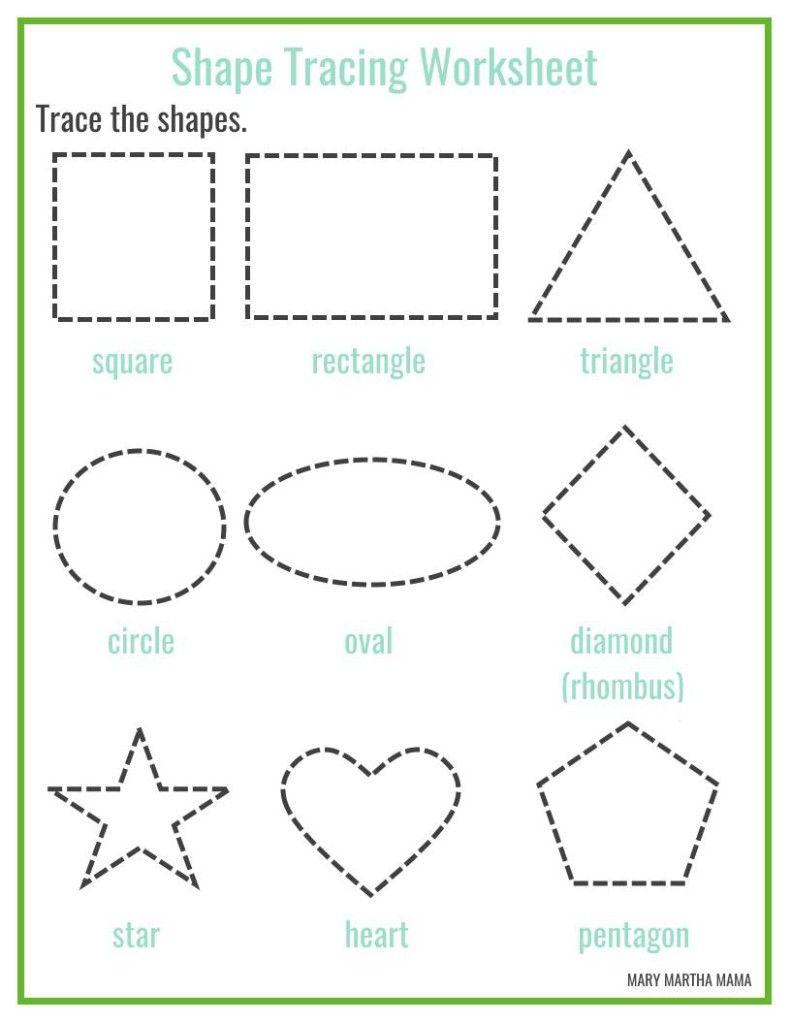 Math Worksheet Preschool Printables Mary Martha Mama Pre K Tracing Shapes Shape Tracing Worksheets Free Preschool Printables Shapes Worksheet Kindergarten